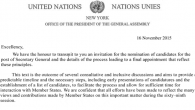 """We have the honour to transmit to you an invitation for the nomination of candidates for the post of Secretary General and the details of the process leading to a final appointment..."""